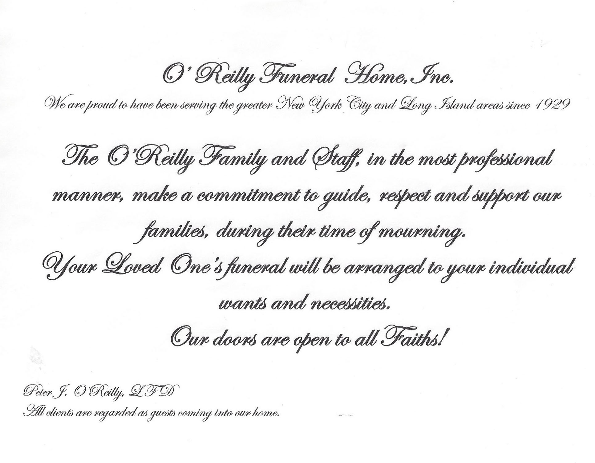 Funeral Chapel Gallery | O'Reilly Funeral Home, Inc